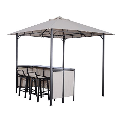 Cheap  Outsunny 8' x 8' Outdoor Covered Bar Gazebo Set w/ Barstools