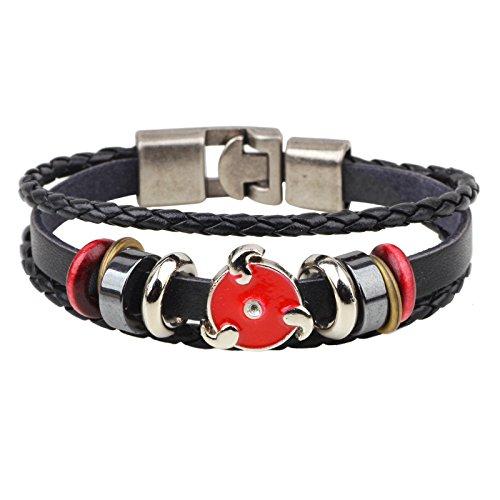 LUCILAS Naruto Leaf Bracelet 8,7 inch Anime Naruto Leather Men's Bracelets Women Braclet Male Punk Beads Bracelet Metal Pulseira Braslet Gift for Boys ()