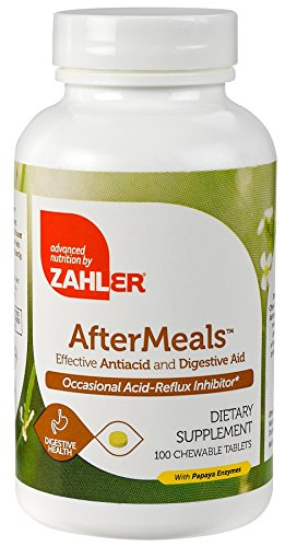 Zahler AfterMeals, Natural Antacid and Digestive Aid, Occasional Acid and Reflux Inhibitor, Certified Kosher, 100 Chewable Tablets