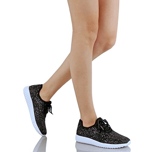 Womens Metallic Sneaker Slip On Wedge Fashion Glitter Black Sparkle Lace Platform up Glitter rvrwq0E