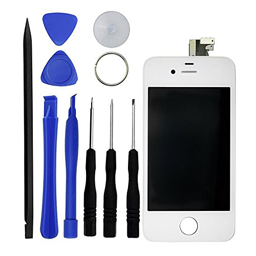 iPhone 4 Premium Replacement Digitizer and Touchscreen LCD Assembly – GSM Replacement for AT&T and International Models - Includes 10 Piece Tool Kit for Replacement and Repair and 1 ECO-FUSED Microfiber Cleaning Cloth – Anti-Fingerprint Screen Protector Pre-Installed (4S - White)