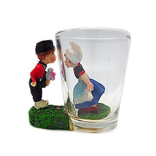Souvenir Shot Glass: 3-D Dutch Boy & - Boy Girl Dutch