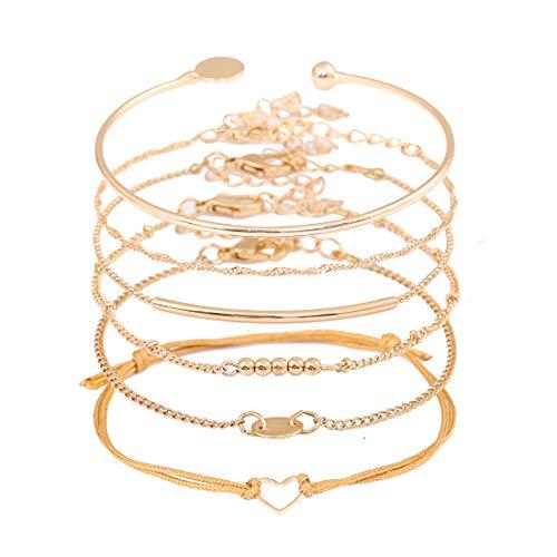 XOCARTIGE Layered Bracelet Set Assorted Beaded Bracelet Multiple Stackable Wrap Bangle Jewelry Adjustable (G Gold) ()