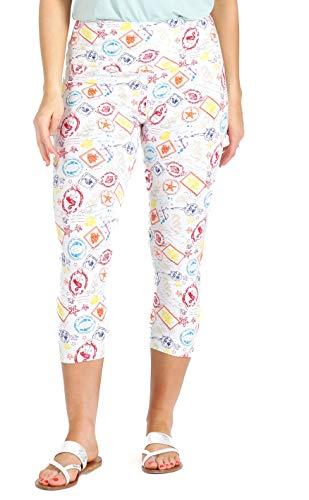 (INTRO. Tummy Control High Waist Pull-On Printed Capri Length Cotton \ Spandex Legging White Beach Print Size Extra Large)