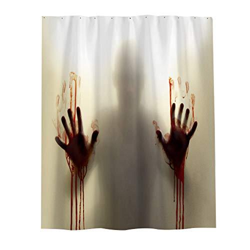 Shan-S Blood Bath Shower Curtain,Halloween 3D Digital Printing Blood Hand Waterproof Mildew Shower Curtain,Blood Splatter Psycho Horror Bathroom Fabric Window Covering for Bedroom Livingroom