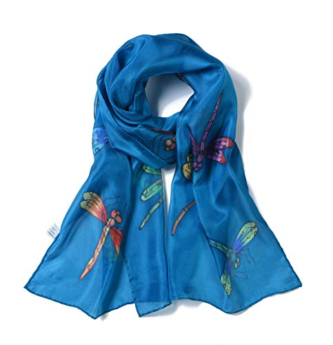 Invisible World Women's 100% Silk Scarf Hand Painted Dragonfly French Blue