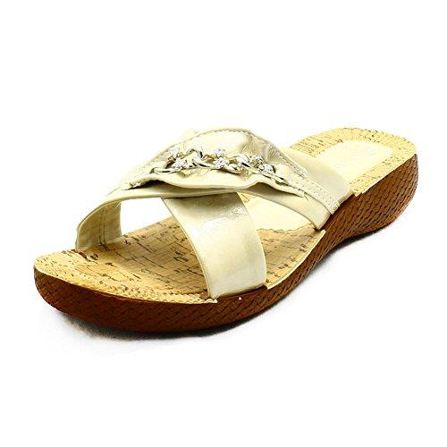 Sandalias de cuña de las señoras patente bajo con cadena de diamante Crema