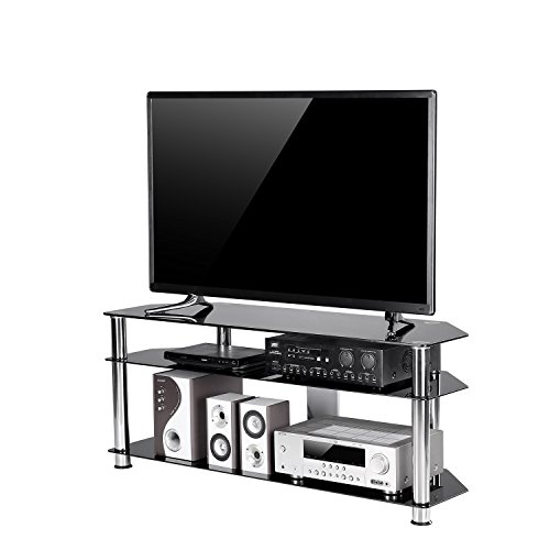 TAVR Black Tempered Glass Corner TV Stand Cable Management Suit for up to 60 inch LCD, LED Oled TVs Curved Screen TV,Chrome Legs TS2003