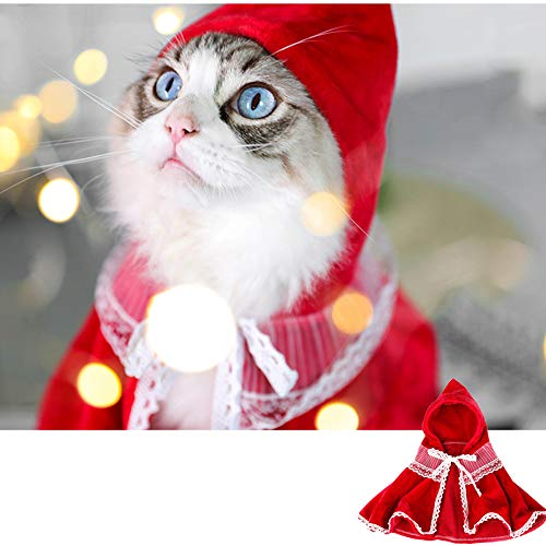 Lindsays Pet Costume Cloak Cape, Cute Hoodie Poncho Puppy Hooded Coat Warm Xmas Clothes Party Holiday Dressup Pet…