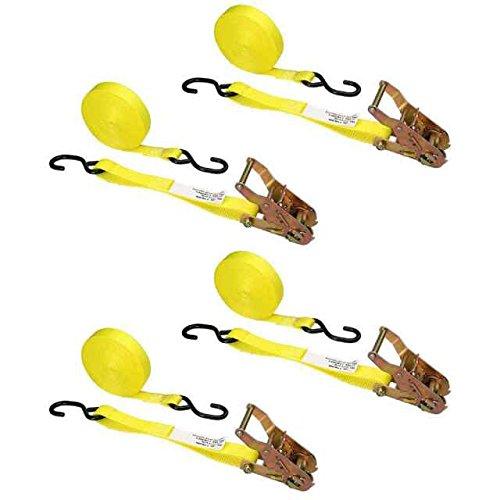 "1"" x 20' Ratchet Strap w/ S-Hooks (Yellow) - 4 Pack hot sale"