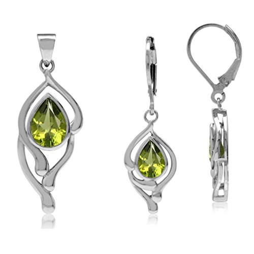 (3-Piece Natural Pear Shape Peridot White Gold Plated 925 Sterling Silver Drop Pendant & Earrings)