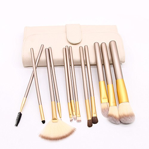 UINO 12 Pieces Professional Makeup Brush Sets Wood Handle Premium Synthetic Kabuki Foundation Blending Blush Concealer Eye Face Liquid Powder Cream Cosmetics Brushes Kit