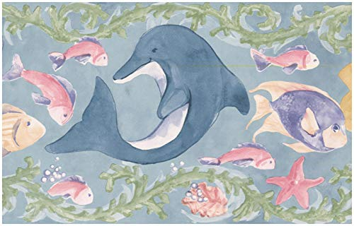 Prepasted Wallpaper Border - Painted Mermaid Colorful Fish Nautical Kids Wall Border Retro Design, Roll 15 ft. x 7 in.