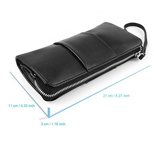Becko Mujeres Billetera y monedero piel, largo embrague bolso de mano soporte para tarjetas, diseño de mariposa, color negro