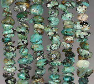 8-9MM African Turquoise Gemstone Pebble Nugget CHIP Loose Beads 15.5