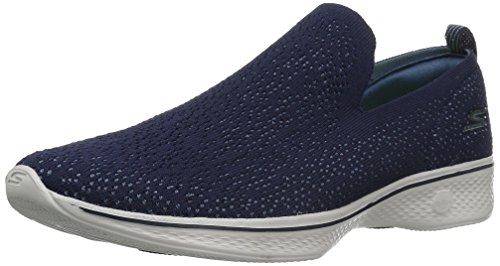 Skechers Performance Womens Go 4-14918 Walking Shoe, Navy/Gray, 6.5 M US