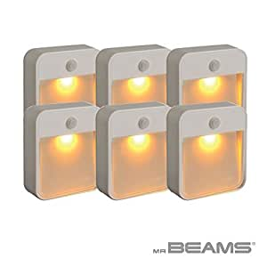 Mr. Beams Sleep Friendly Battery-Powered Motion-Sensing LED Stick-Anywhere Nightlight with Amber Color Light, White, MB720A-WHT-06-00 1 wattsW, 6 voltsV