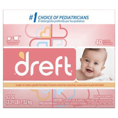 Dreft Baby Original Scent Powder Detergent 40 Loads 53 OZ (Pack of 8) by Dreft