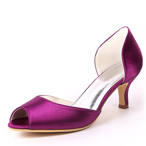 L@YC Women Wedding Shoes Side air Bridesmaid Almond Round Toe Platform Court/High Heels Purple BVdPv7l