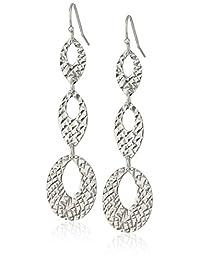 Sterling Silver Diamond Cut Twist Wire Dangle Earrings