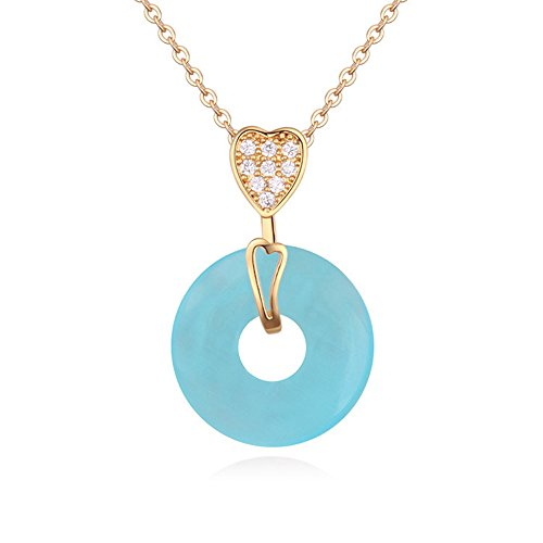 Hope Rectangle Magnet (Winter's Secret 18K Gold Plated Diamond Accented Heart with Circle Blue Opal Pendant Necklace)