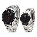 Couple Style Unisex Steel Analog Quartz Wrist Watch (Silver) For Lady
