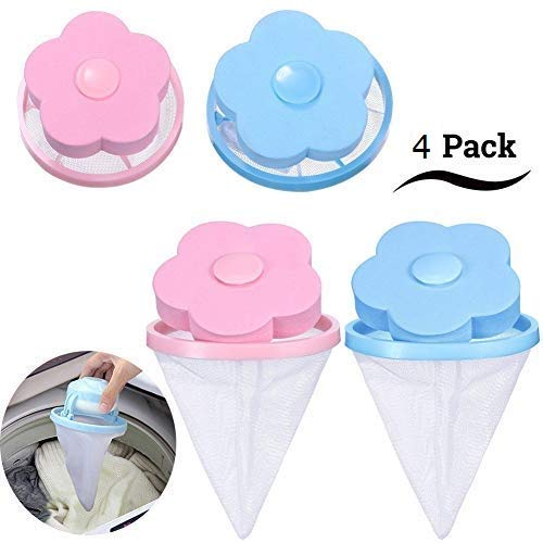 4 Pcs Reusable Hair Filter Net Pouch Bag, Washing Machine Floating Lint Mesh Bag, Dog Cat Pet Fur Remover Hair Catcher(Blue and Pink)