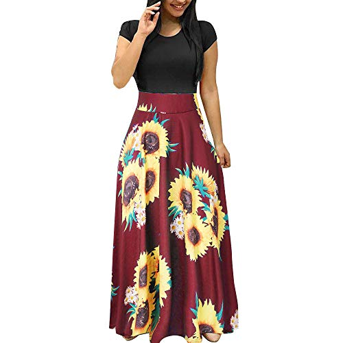 【MOHOLL】 Women's Short Sleeve Midi Casual Flared Tank Dress Sunflower Print Sundress Casual Swing Dress Maxi Dress Wine