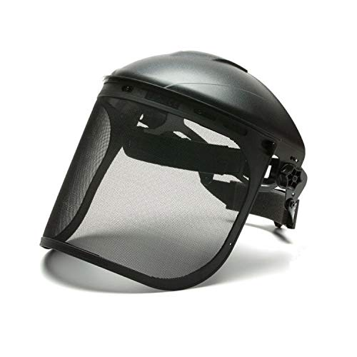 Pyramex Safety Full Face Shield Eye and Head Protection ANSI Z87+ (HGBR Headgear with Wire Mesh Face Shield)