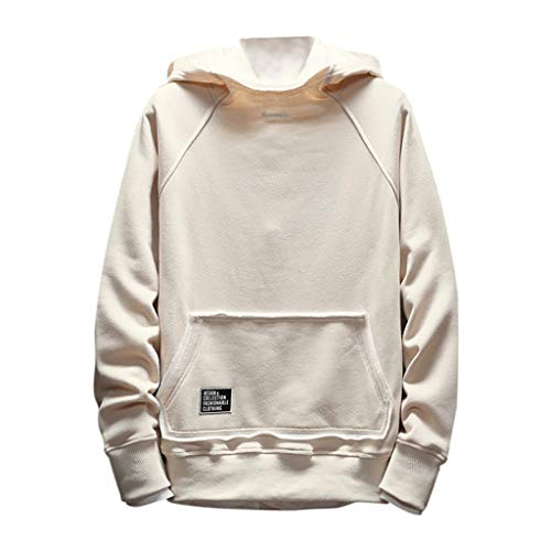 Sunhusing Mens Simple Casual Solid Color Drawstring Hoodie Tops Pocket Patchwork Long-Sleeve Sweatshirt Jacket Khaki