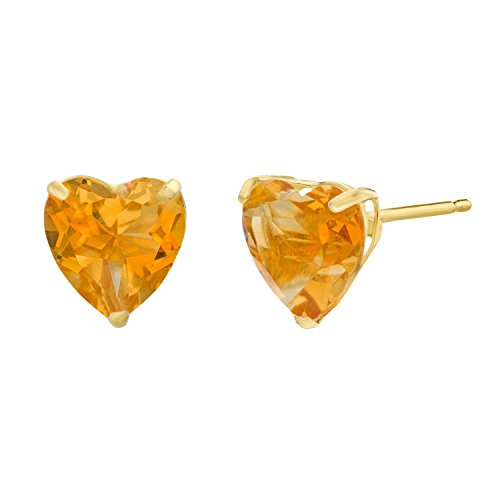 (Lavari - 1.30 cttw Heart 6MM Natural Yellow Citrine 10K Yellow Gold Stud Earrings)