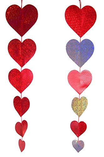 Assorted Holographic Red and Silver Hanging Heart Decorations, 30 Inch, Pack of 4