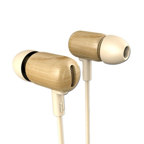 Wood Headphones in Ear Phone DZAT DF-10 Premium Genuine Noise Cancelling Natural Wooden Hifi Stereo Bass Earphone Headset with Microphone by Yinyoo Audio (yellow wooden)
