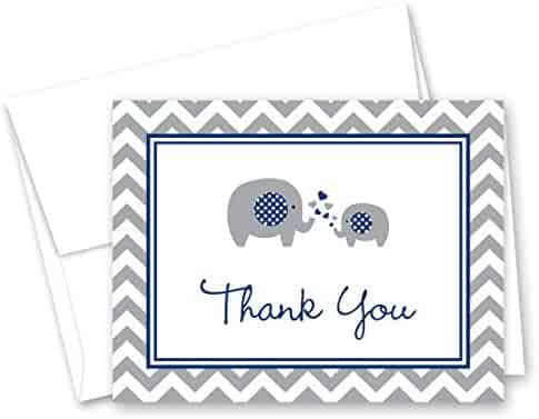50 Cnt Navy Chevron Elephant Baby Thank You Cards