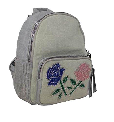 DIVA Sac fleurs dos haute Medium embellissement pour femmes Kaki à Gris pour URT5n