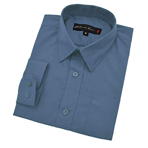 Johnnie Lene Little Boy's Long Sleeves Solid Dress Shirt #JL32 (4, Dusk Blue)