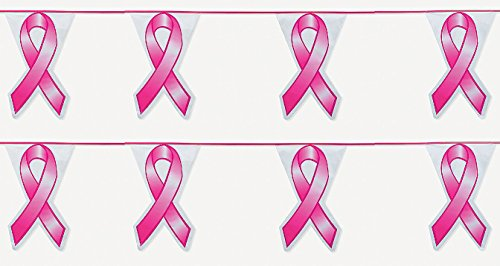 2-100' Pink Ribbon Pennant Flag Banner Decor Breast Cancer Float Supply 200 ft]()