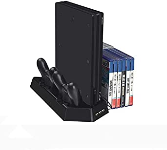 Rixow Soporte PS4 Slim / PS4 Pro/PS4 Regular Cargador de Vertical con Ventiladores Estación de carga, Cabe 14 Discos de Juego, HUB USB para Sony PlayStation 4 Cargador de consola Slim/ Pro Dualshock4