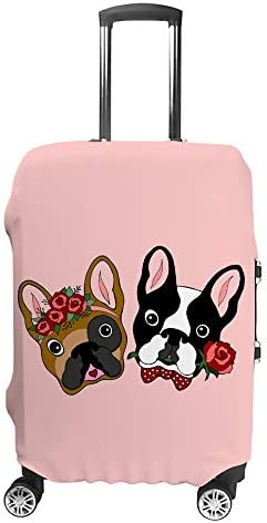 スーツケースカバー トラベルケース 荷物カバー 弾性素材 傷を防ぐ ほこりや汚れを防ぐ 個性 出張 男性と女性かわいいカップルブルドッグデート