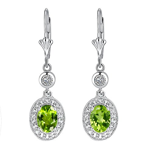 Sterling Silver Oval Cut Genuine Natural Peridot & White Topaz Leverback Halo Design Drop Earrings by BL Jewelry (Image #3)