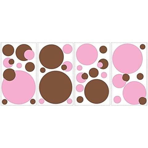 Lunarland Polka Dots 31 BiG Wall STICKERS Pink Brown Room Decor Decals Baby Nursery Circle - Polka Dots Teen Bedroom