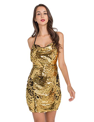 Lomantise Women's Sexy Glitter Dresses for Women Party Night Club Halter High Slit Mini Short Sequin Dress