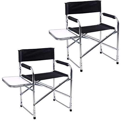 Giantex Aluminum Folding Director's Chair Portable with Side Holder Camping Traveling Camping Chair (Black Two Pieces)