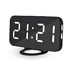 Zlimio Digital LED Alarm Clock,Portable Clock Make-up Mirror Table Desktop Large LED Display with Dual USB Port for Bedroom, Office, Travel