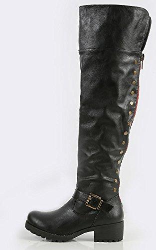 Stivali Da Equitazione Makemechic Donna Bamboo-04 Con Borchia Laterale Neri