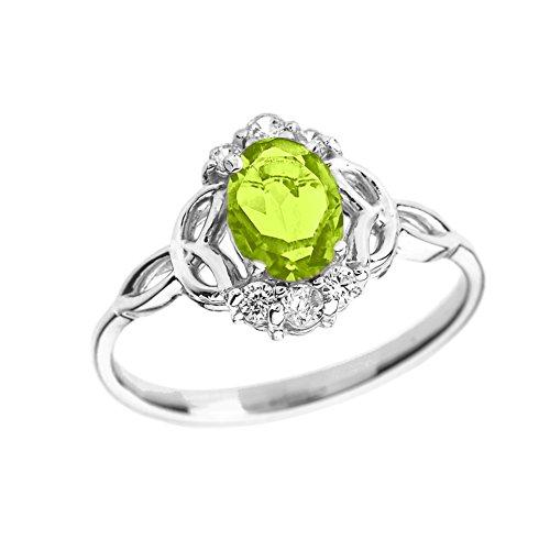 Elegant 14k White Gold Diamond Trinity Knot Proposal Ring with Genuine Peridot (Size ()