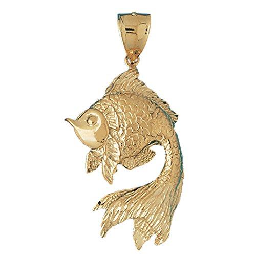 Jewels Obsession Goldfish Pendant | 14K Yellow Gold Goldfish Pendant - 63 mm ()