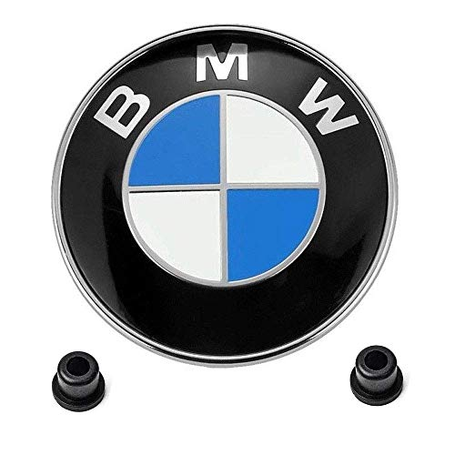 (BMW 82mm front emblem Logo Replacement + 2 Grommets for ALL Models BMW E46 E30 E36 E34 E38 E39 E60 E65 E90 325i 328i X3 X5 X6 1 3 5 6 7 (Front))