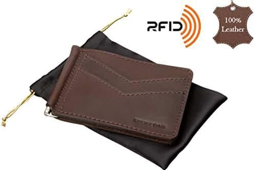 Slim Front Pocket Genuine Leather Money Clip, Minimalist RFID Card Holder Wallet
