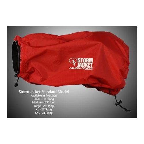 Vortex Media Storm Jacket Cover for an SLR Camera with a Long Lens Measuring 14'' to 23'' from Rear of Body to Front of Lens, Color: Red